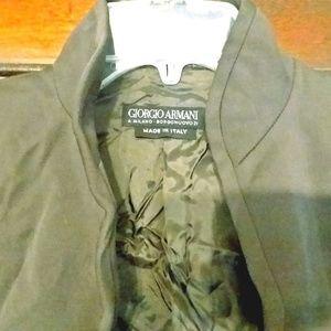 GIORGIO ARMANI Olive Mandarin Collar Blazer